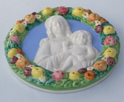 Italian Della Robbia Style Ceramic Roundel Of The Madonna And Child With Fruit • 15£