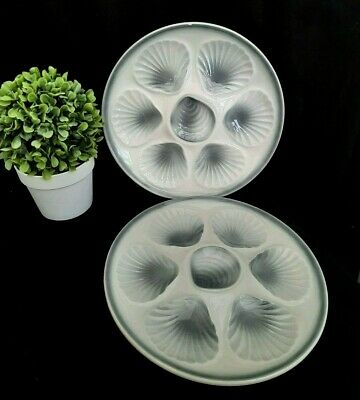2 X Vintage French Oyster Seashell Plates - Orchies Moulin Des Loups - Grey • 14.99£