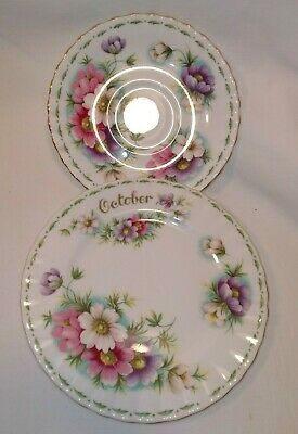 Vintage Royal Albert Duo Flower Of The Month Saucer/Side Plate Cosmos Great Cond • 12.99£