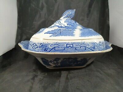 Antique Staffordshire Pottery Vegetable Tureen Willow Pattern A/F • 13£