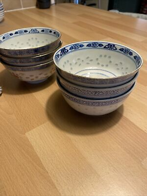 Set Of 6 Lovely  Chinese Porcelain Soup / Rice Bowls/Plates & Spoons  • 12£
