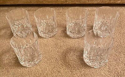 Lovely Set Of 6 Quality Cut Glass Whiskey Glasses / Tumblers • 19.99£
