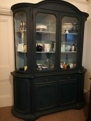 Very Pretty Blue Painted Wooden Glazed Dresser Display Cabinet Larder Pantry • 325£