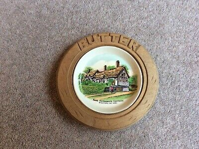 Goss - Butter Dish, With Carved Wooden Surround 'Butter' • 28£