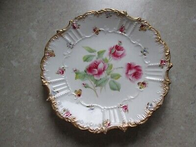Antique Aynsley Cabinet Plate - Hand Painted Pink Roses & Pansys   C.1900 • 12£