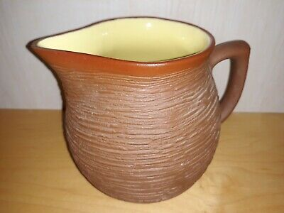 Vintage Pigeon Forge Pottery Yellow & Brown Ribbed Water Juice Pitcher 5 1/4  • 25.32£