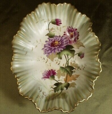 ANTIQUE 1892 VICTORIAN POTTERY DISH FLORAL Chrysanthemum By W & A Carlton Ware  • 23.99£