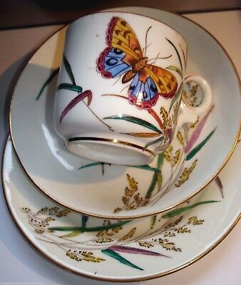 Very Pretty Antique Cup, Saucer & Plate / Trio W Butterflies Design • 25£