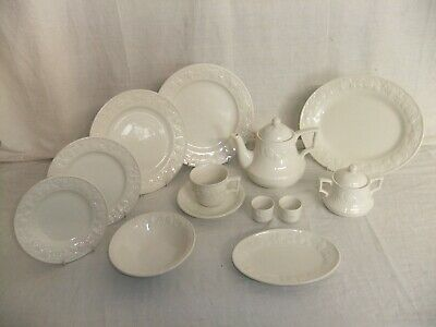 C4 Pottery BHS & Barrats - Lincoln - White Embossed Tableware, Stamps Vary 1D4D • 4.99£