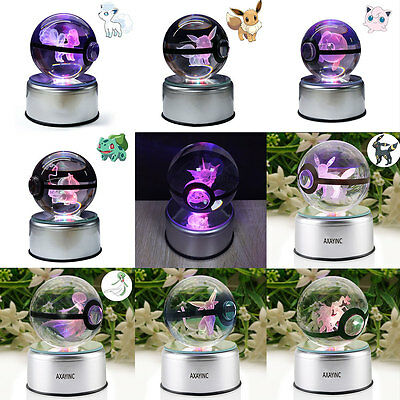 80mm Pokemon Elf Eevee 3D Crystal Pokeball LED Night Light Table Lamp Xmas Gift • 25.99£