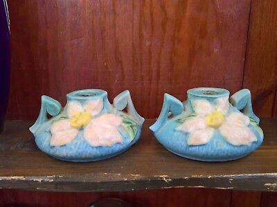 Antique Roseville Clematis Blue Art Nouveau American Art Pottery Candle Holders • 37.99£