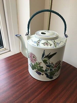 Chinese Decorative Large Teapot With Bamboo Handle (Antique) • 49£