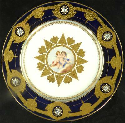 N516 ANTIQUE  FRENCH SEVRES STYLE PORCELAIN PLATE CHERUBS  COBALT BLUE ENAMEL B • 249.99£