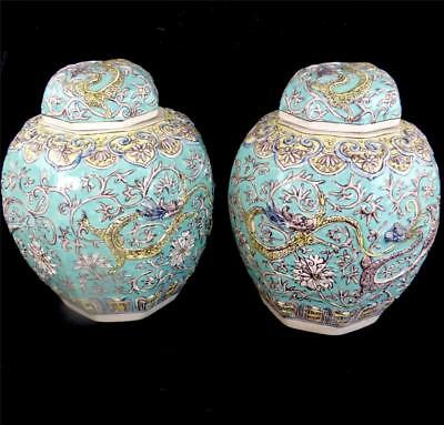 Pair Oriental Porcelain Ginger Jars & Covers Chinese Japanese Turquoise Dragons • 299.99£