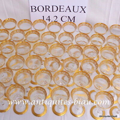 Bordeaux Glasses In Crystal Saint Louis Thistle Gold Model PERFECT 5.6 Inch • 141.99£
