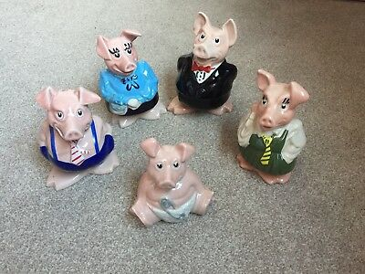 NatWest Pigs.Full Set Of Five. Excellent Condition With Original Stoppers • 75£
