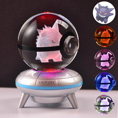 Pokemon Gengar 3D LED Crystal Decor Night Light Table Lamp Gift Kids • 17.49£