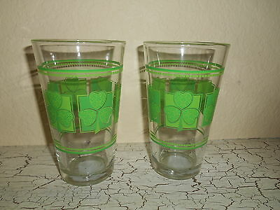 4 Glass Tumblers St Patricks Day Green Clover's • 22£