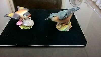 Royal Worcester Nuthatch And Goldfinch Bird Figurines 3334 & 3239 • 50£