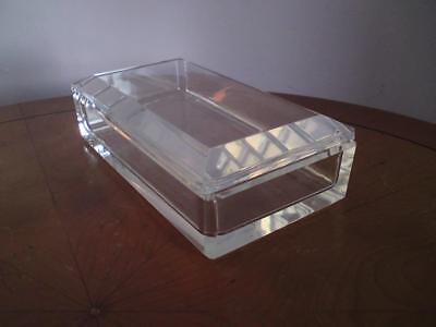 Signed Val St Lambert Faceted Cut Belgium Clear Glass Crystal Box • 65£