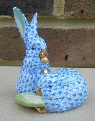 HEREND Porcelain Pair Of Rabbits With Corn Blue Fishnet Figurine  • 150£