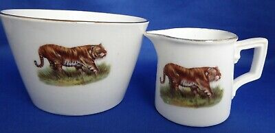 Porcelain Tiger Decorated Sugar Bowl & Milk/Cream Jug • 5.99£