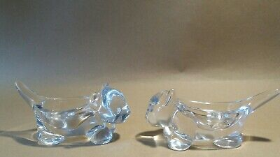 Vintage Vannes French Art Glass Crystal Cat Dish X 2. • 28£