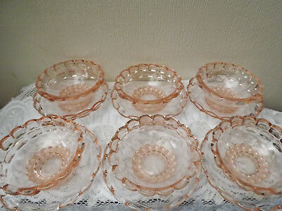 6  Glass Fruit Dishes With Stands - Pretty Pattern • 15£