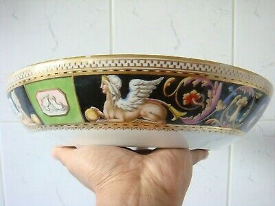 Meissen Marcolini Period Rare Egyptian Sphinx & Motifs Decorated Punch Bowl • 695£
