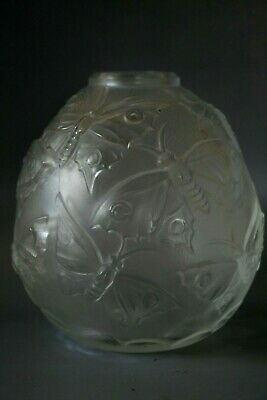 Antique Art Deco French Frosted Glass  Vase - Butterfly Pattern • 79£