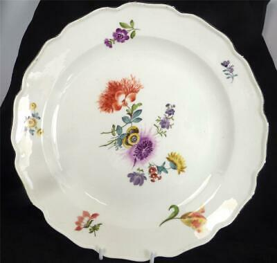 N981 Antique 18th Century Meissen Porcelain Plate Chargers Flowers • 149.99£