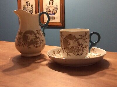 Victorian Art Nouveau Japanese Aesthetic Cup And Saucer And Jug C. 1890  # 1000 • 34.30£