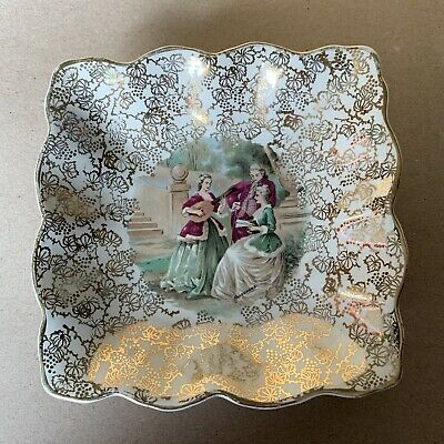Vintage Midwinter Fragonard Lovers Gold Square Dish - 13.5 X 13.5cm • 4.99£