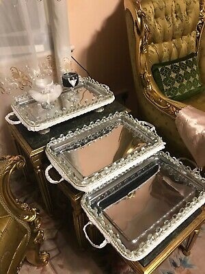 Large Lace And Crystal Tray • 15£