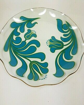Vintage Chance Glass Canterbury Blue Swirl Platter • 8£