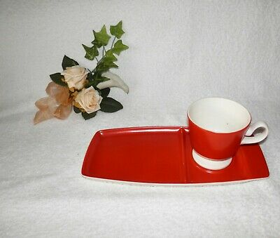 Retro Vintage CARLTON WARE Scarlet Red And White Cup And Saucer Plate 2319 • 20.50£