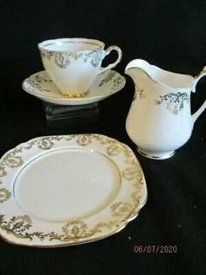 Vintage Pretty China Mismatched Gold And White Trio Tea Plate Cup, Saucer & Jug • 9.50£