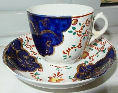 Gaudy Welsh Cup And Saucer Tulip Ring Handle • 10£