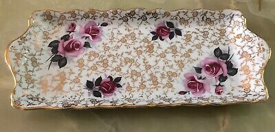 Pretty Old Foley Rose Decorated Sandwich Plate • 12.99£