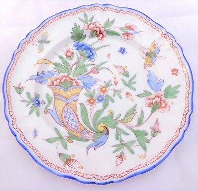 French Faience Plate Hand Painted Cornucopia Horn Plenty Mark MG Antique 19th C • 25£