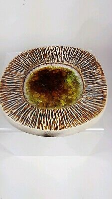 1960's Brown Crackle Glaze Purbeck Pottery Dish (Eddie Goodall) • 15£