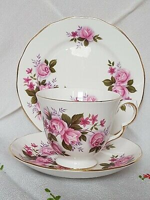 Pretty Queen Anne Pink Roses Bone China Teacup Saucer Side Plate Trio • 6.99£