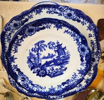 Antique Blue And White Willow Pattern Chinoiserie Sandwich Set Hilditch?  • 21£