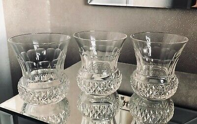 Vintage Set Of 3 THISTLE Shaped Whiskey Glasses / Tumblers - Perfect • 39.50£