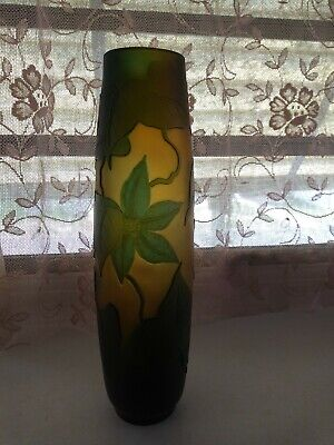 Original Galle Clematis Cameo Glass Vase French Signed • 979.15£