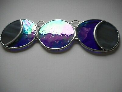 Stained Glass Triple Moon Goddess Suncatcher Or Wall Mount.  • 17£