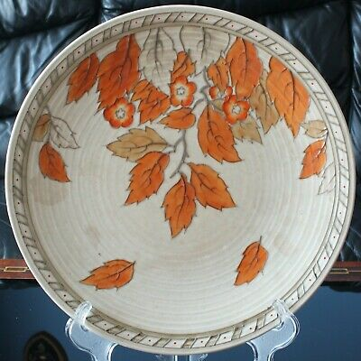 Crown Ducal CHARLOTTE RHEAD Golden Leaves Pattern 4921 Tube Lined Wall Plate • 85£