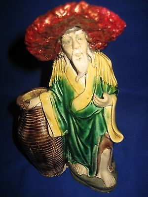 Antique / Vintage Chinese Pottery Polychrome Figurine  • 16£