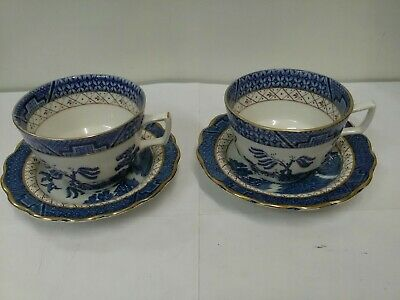 2 X Royal Doulton Booths Real Old Willow Cups And Saucers • 12£