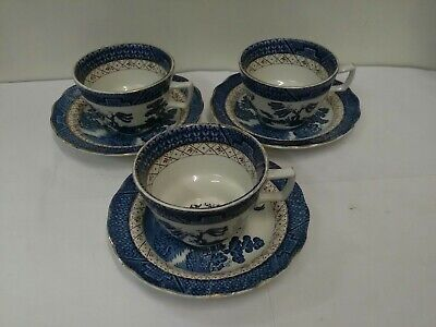 3 X Booths Real Old Willow Cups And Saucers • 10£